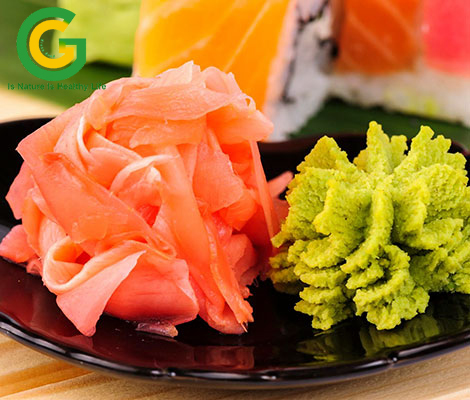 gừng hồng sashimi wasabi